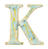 Wooden alphabet letter. Colorful grungy handmade alphabet letter. Made of wood covered with paint royalty free stock images
