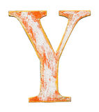 Wooden alphabet letter. Colorful grungy handmade alphabet letter. Made of wood covered with paint Stock Photos