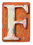 Wooden alphabet letter F stock photography