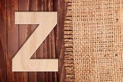 Wooden alphabet letter symbol - Z. Royalty Free Stock Photos