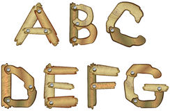 Wooden alphabet letters. Alphabetic letters made of wooden planks Royalty Free Stock Photos