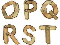 Wooden alphabet letters. Alphabetic letters made of wooden planks Royalty Free Stock Photography