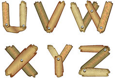 Wooden alphabet letters. Alphabetic letters made of wooden planks Stock Image