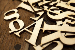 Wooden alphabet letters Royalty Free Stock Images