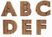 Wooden alphabet letters english language A B C D E F in 3D render image Royalty Free Stock Images