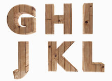 Wooden alphabet letters english language G H I J K L in 3D render image Royalty Free Stock Photo