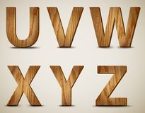 Wooden Alphabet Letters U, V, W, X, Y, Z. Vector Royalty Free Stock Image