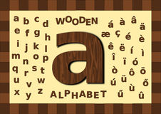 Wooden alphabet lowercase. Wooden texture alphabet, lowercase with foreign accents vector illustration