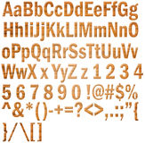 Wooden alphabet and numbers Royalty Free Stock Photos