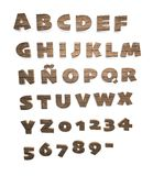Wooden alphabet and numerals Royalty Free Stock Photography