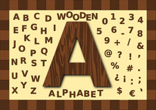 Wooden alphabet, uppercase. Wooden texture alphabet, uppercase, letters and numbers royalty free illustration