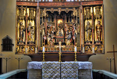 Wooden altar in the Church of the Holy Spirit (Pühavaimu) Royalty Free Stock Photos