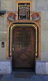 Wooden Ancient Door in Swiss City Royalty Free Stock Photo
