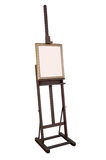 Wooden ancient easel with blank canvas Royalty Free Stock Photo