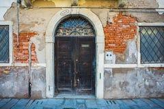 Wooden Ancient Italian Door Stock Images