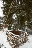 Wooden  ancient water well  in winter Royalty Free Stock Images
