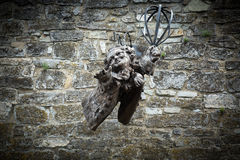 Wooden angel statue on stone wall Royalty Free Stock Images