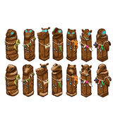 Wooden animals totems with ancient decorations Royalty Free Stock Photos