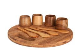 Wooden antique kitchen utensils Royalty Free Stock Photography