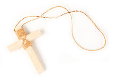 Wooden antique look crucifix necklace isolated Stock Photography