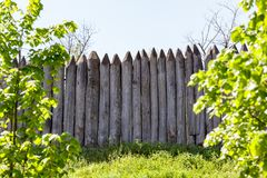 Wooden antique palisade Stock Images