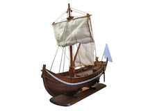 Wooden Antique ship isolated over white Stock Photo