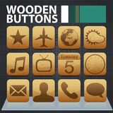 Wooden app buttons Stock Photos