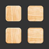 Wooden App Icon Template Set. Vector Royalty Free Stock Images
