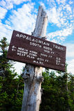 Wooden Appalachian Trail Sign. Wooden Sign of the Appalachian Trail on top of South Horn in Maine Royalty Free Stock Images
