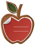Wooden apple. Vector illustration representing a wooden apple with a stiky note Stock Photos