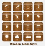 Wooden Application Icons Set Vector Illustration Stock Images