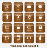 Wooden Application Icons Set Vector Illustration Stock Image