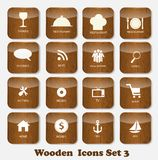 Wooden Application Icons Set Vector Illustration Royalty Free Stock Image