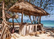 Wooden arbor on beach Royalty Free Stock Photos