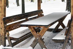 Wooden arbour covered with snow Stock Photography