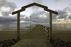 Wooden arch of a bathing bridge Stock Images
