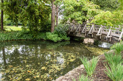 Wooden arch bridge. Scenic small wooden arch bridge, in the gardens of an Oxford College a cloudy day Stock Image