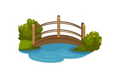 Free Wooden Arch Bridge With Railings. Footbridge Over Small Pond. Green Bushes And Grass. Flat Vector Element For Map Of Royalty Free Stock Photo - 130537825