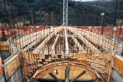 Wooden arch dome being built on monastery construction site Royalty Free Stock Photography