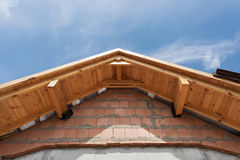 Wooden arch roof. Roof under construction. Wooden arch roof. Roof under construction Stock Image
