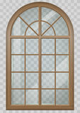 Wooden arched window Royalty Free Stock Photos