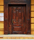 Wooden architechture of Siberia. Wooden and metal doors of Tomsk buildings Royalty Free Stock Photos