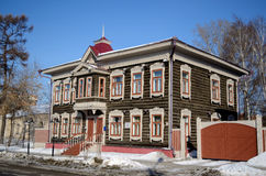 Wooden Architecture. Beautiful carved wooden houses in Tomsk, Russia Royalty Free Stock Photo
