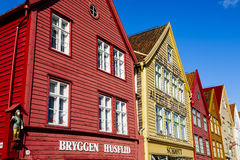 Wooden architecture of Bryggen at Bergen Stock Photography