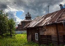 The wooden architecture of the old town of Suzdal. The beauty of the province of Russia stock photography
