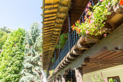 Wooden architecture of the Troyan Monastery in Bulgaria Royalty Free Stock Photos