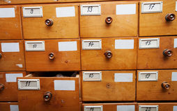 Wooden archive drawers, front view Stock Photo