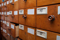 Wooden archive drawers, side view Stock Images