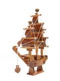 Wooden argosy model on white background Royalty Free Stock Photography