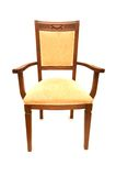 Wooden arm chair isolated. On the white Stock Photo